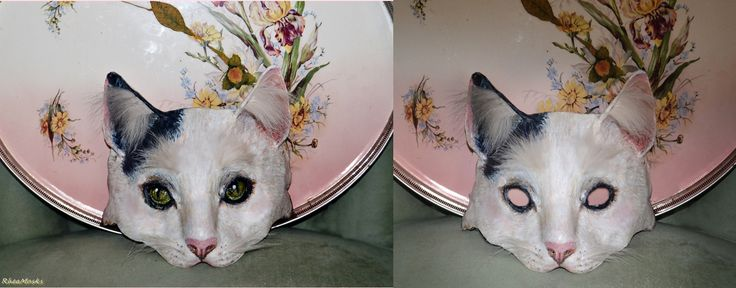 Papier mache cat mask with & without eyes