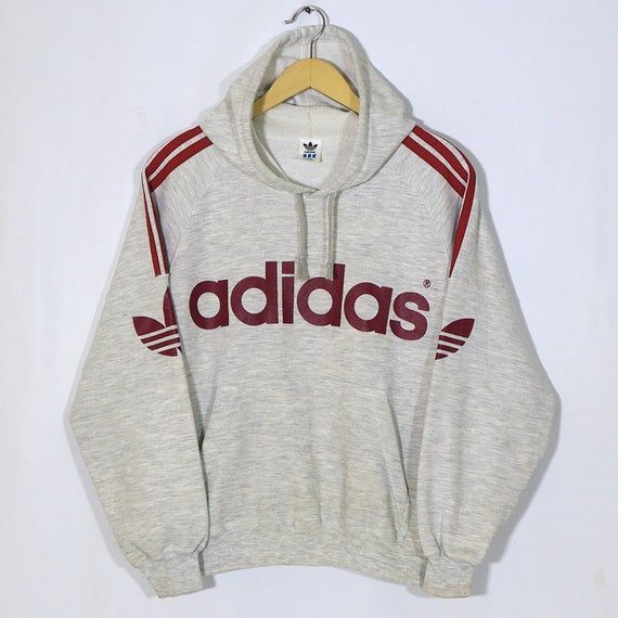 Hoodie Outfit Rare Adidas Vintage 90s Adidas Hoodie Sweatshirt Pullover Grey Misty Retro Sweater Hoodie Jumper In 2020 Sweatshirts Hoodie Retro Sweater Adidas Hoodie