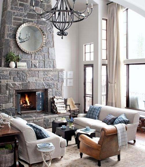 Living Room #living #room living-room: Stones Fireplaces, Decor Ideas, Living Rooms, Window, Colors, High Ceilings, House, Leather Chairs, Fire Places