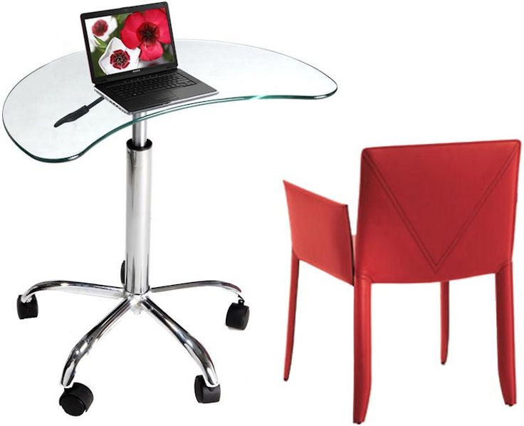 Clear Glass Utility Laptop Desk Clear Glass By RTA Products   1 800 460