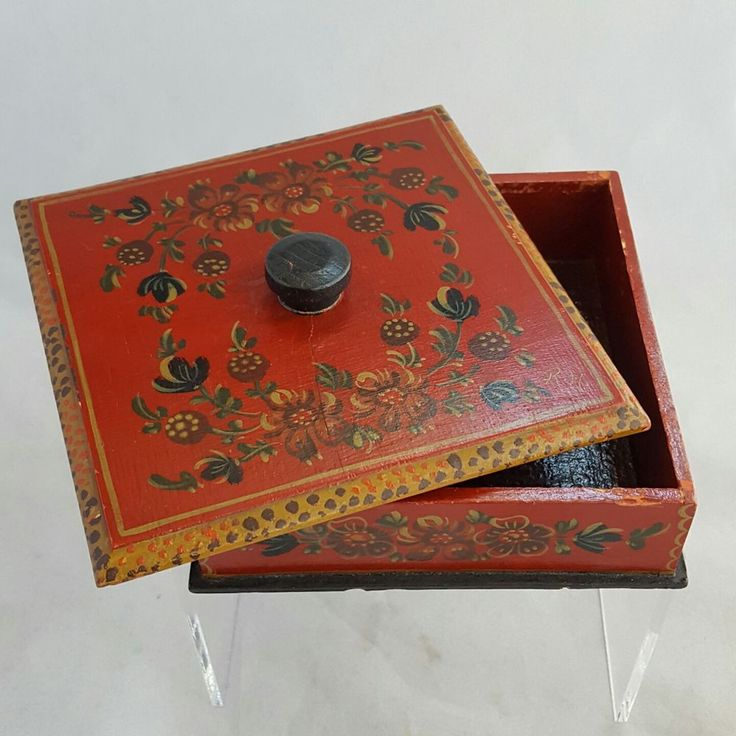 Vintage Tole Painted Red Hand Made Wooden Box with Lid Possibly Russian Toleware #RusticPrimitive