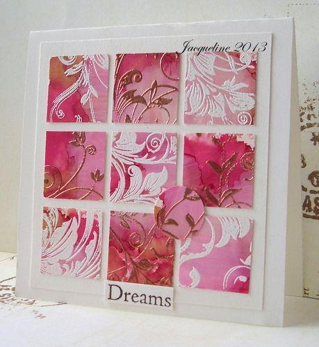 Mooi in die knal roze tinten met wit en copper embossing