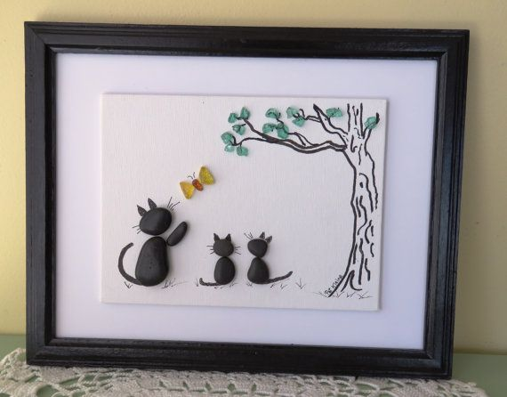 """Original Pebble Art Picture CAT and KITTENS with BUTTERFLY 8""""x10"""" Wood  Frame"""
