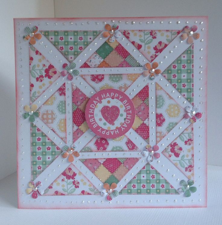 Card designed by Julie Hickey using Country Charm 6x6 paper pad, die cuts and template. Pretty patchwork card made using template to create a quilt look to card.