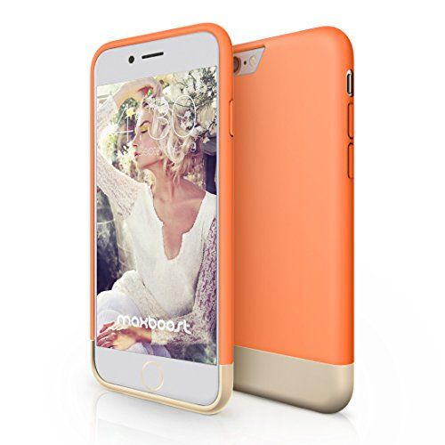 Maxboost Vibrance Series Protective Metallic Finished Base with Vibrant Trendy Color Slider Style Hard Case for iPhone 6 (4.7 inch) - Peaches N' Cream/Champagne Gold