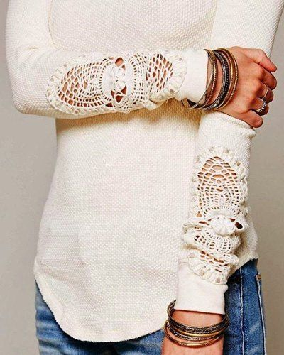 Casual Hollow Out Crochet Long Sleeve Solid Color T-Shirt For Women