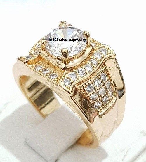 Round Cut Diamond Wedding Anniversary Pinky Men's Ring In 14K Yellow Gold Finish #br925silverczjewelry #MensWeddingRing #WeddingEngagementAnniversaryBirthdayGift