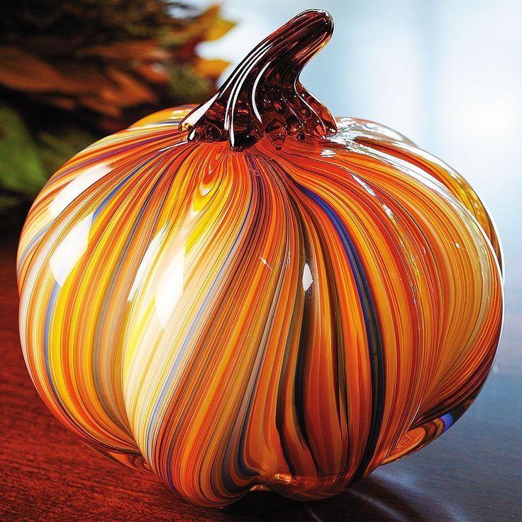 Art Glass Pumpkin Hand-Blown Glass Paperweight Home Decor Fall Halloween.