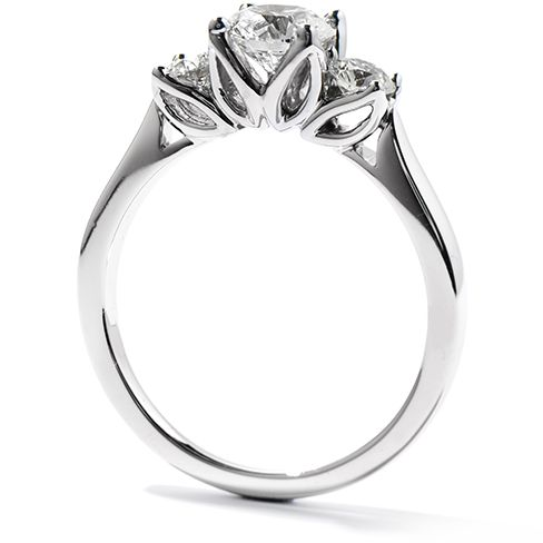 Hearts On Fire Simply Bridal Leaf Three Stone Engagement Ring