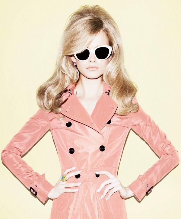 sunglasses, trench,60s hair