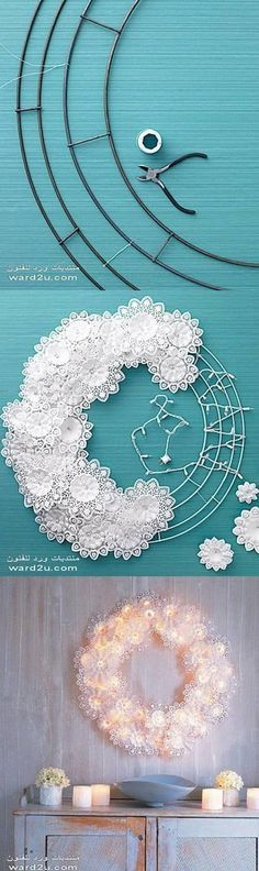DIY Paper Doily fairy light  Wreath Tutorial