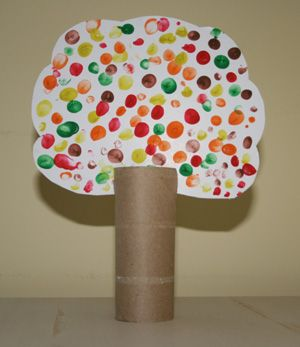 Read a story about fall or go for a walk with your little ones and talk about the season then make a fingerprint fall tree. Art at home can be easy!