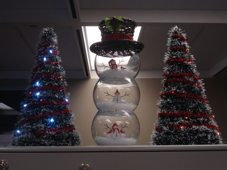 Fishbowl Snowman Xmas Trees From Dollar Store With Battery