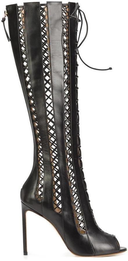 Francesco Russo open toe knee-length boots