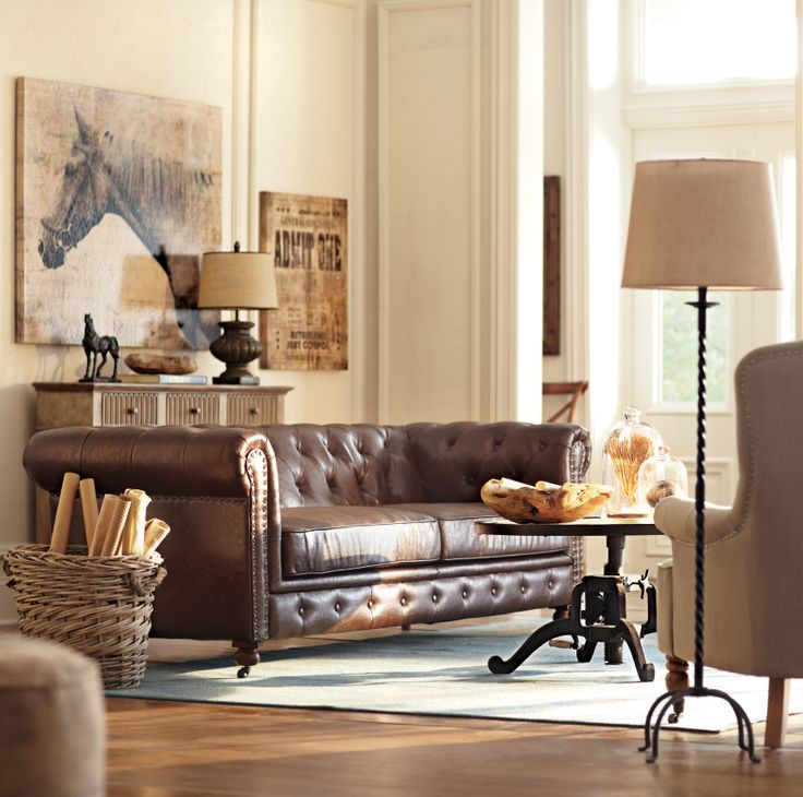 A brown tufted chesterfield sets the tone in any room. HomeDecorators.com
