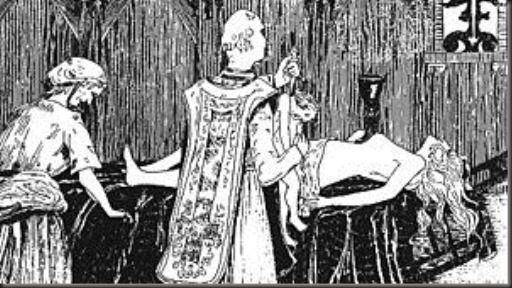 Engraving by Henry de Malvost in the book Le Satanisme et la Magie by Jules Bois depicting a Black Mass, part of an earlier moral panic of religious desecration and Satanic ceremonies that was a precursor to the satanic ritual abuse moral panic of the late 20th century