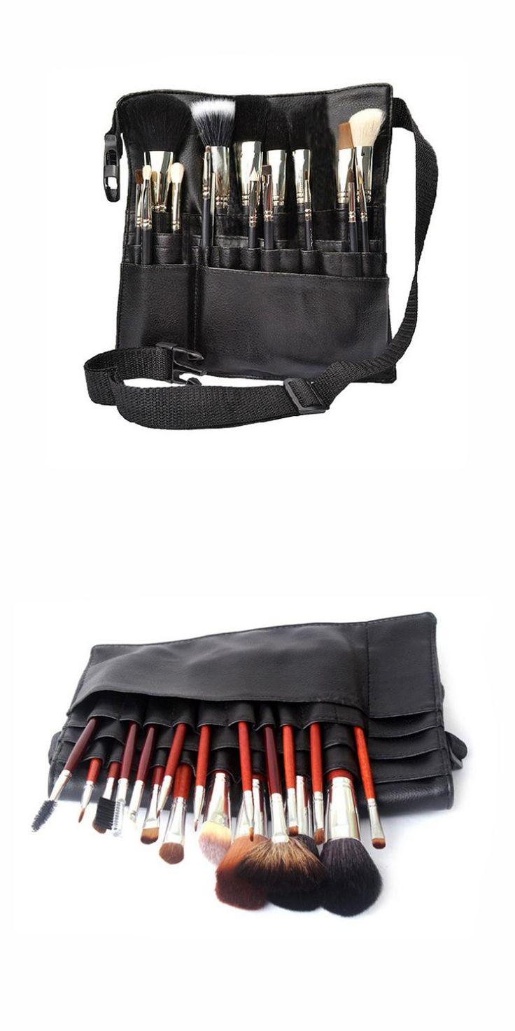 [Visit to Buy] Black Two Arrays Makeup Brush Holder Professional PVC Apron Bag Artist Belt Strap Protable Make Up Bag Cosmetic Brush Bag #Advertisement