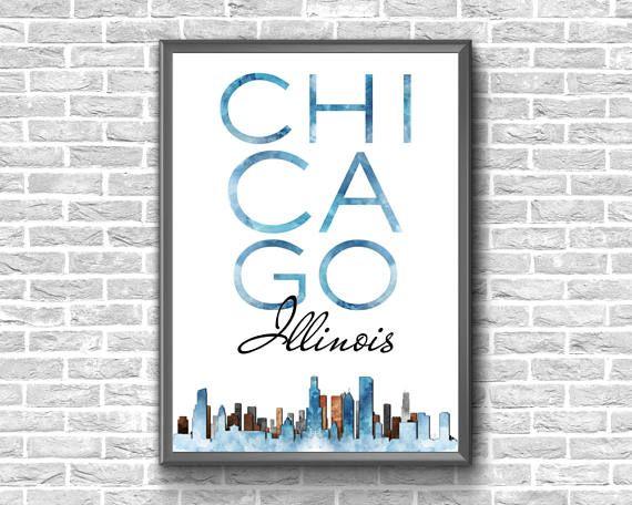 Chicago Print  Chicago Skyline  Chicago Download  Chicago