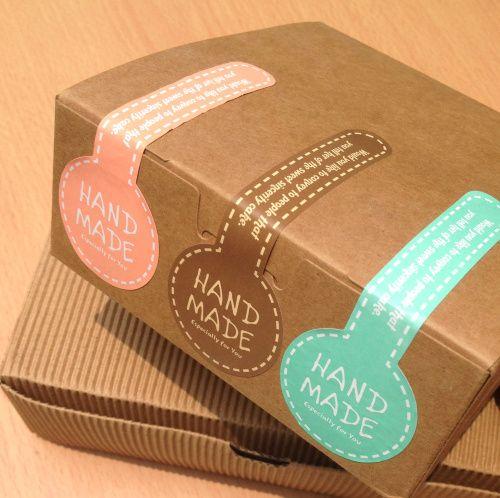 """Etiqueta Forma Lollipop """" Hecho a mano """" de la etiqueta de sello , etiquetas engomadas de papel de regalo , bolsas, sobres, tarjetas de CH   14121306, alta calidad."""