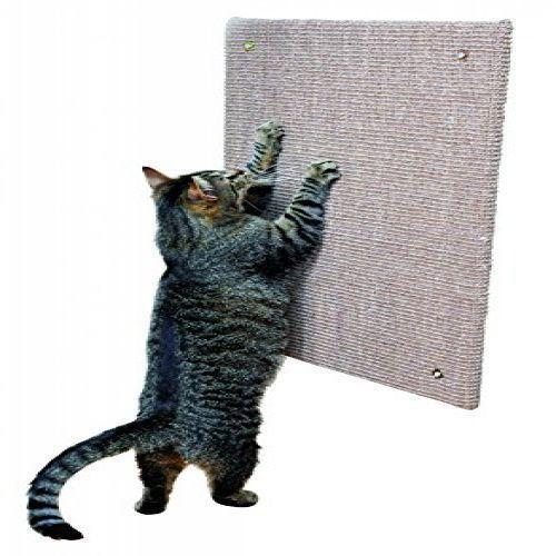 Pet Kitten Corner Cat Scratching Board Wall Mounted Brown Color Fleece Sisal Mat