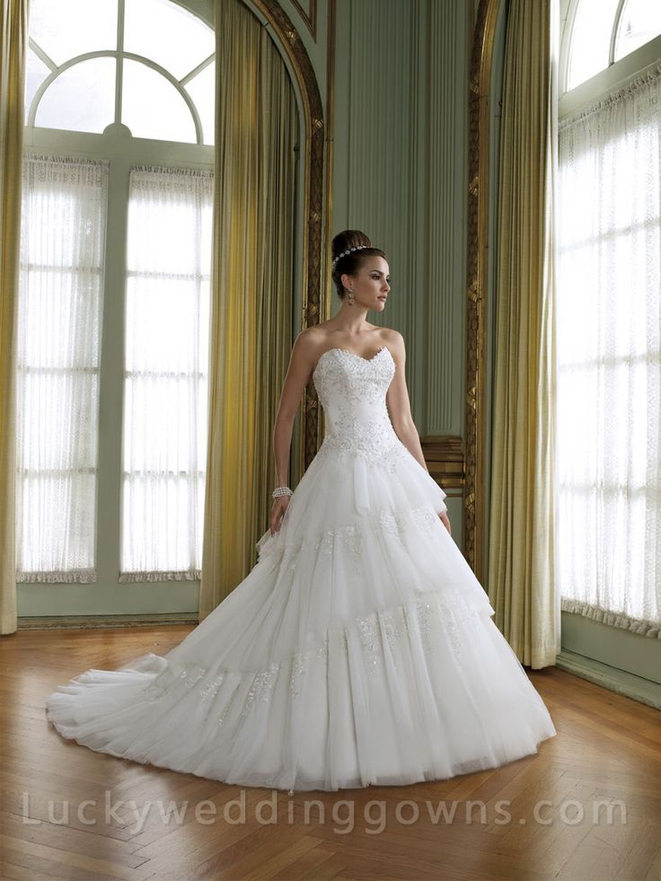 Sweetheart Wedding Dress with Tiered Tulle Skirt