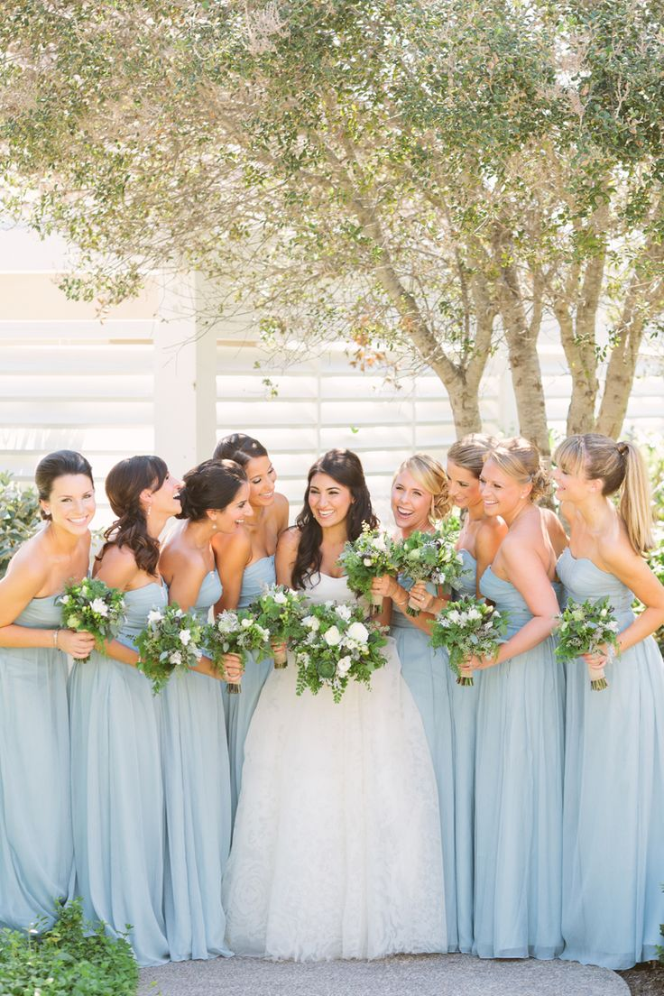 Bridesmaids in blue - L'Auberge Del Mar Wedding LOVE. Such a beautiful shade of blue  stunning dresses!