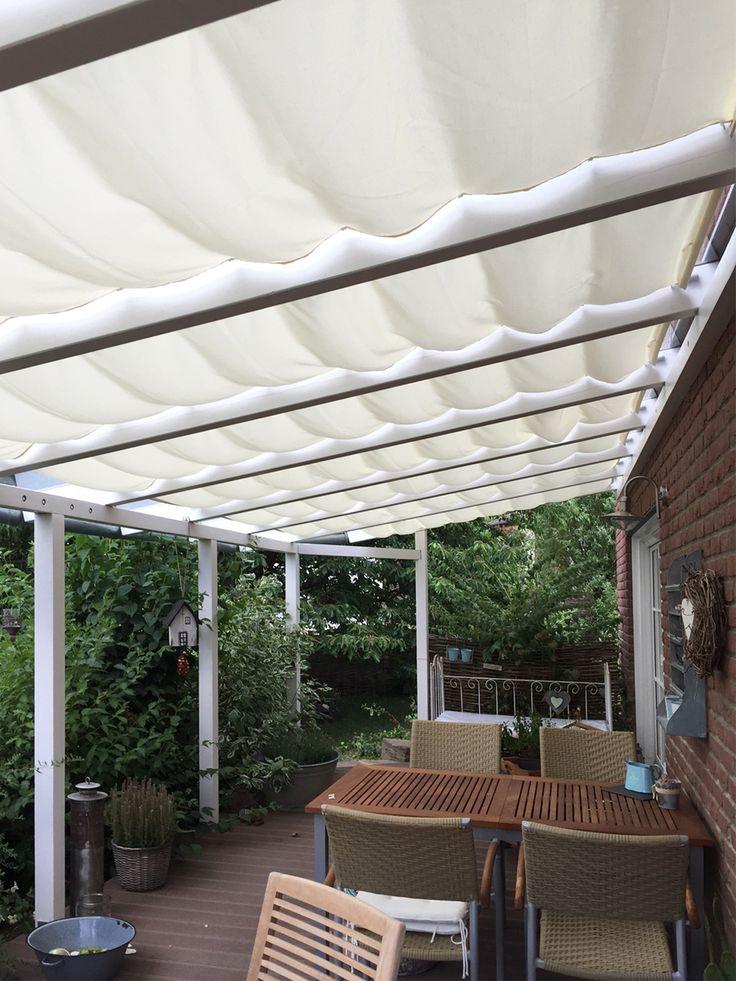So lässt es sich auf der Terrasse aushalten! beiger #Sonnensegel Stoff + Monategzubehör aus dem Raumtextilienshop - ein Kundenfoto