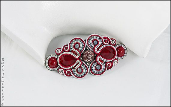 "The soutache hair clip ""Lady in Red"""