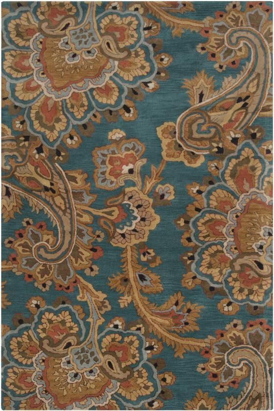 maisy rug hand tufted new zealand wool rug featuring a paisley motif for eye catching appeal in teal gold taupe and multi