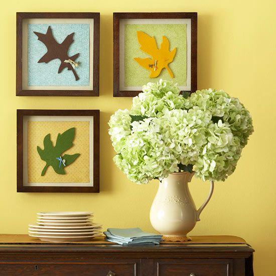 Framed Felt Leaf Artwork: Simple & Adorable Fall Decor idea!