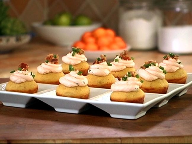 """Bacon Corn Muffins with Savory Cream Cheese Frosting - One reviewer raves, """"I have made this recipe several times now and every time it gets rave reviews!"""""""