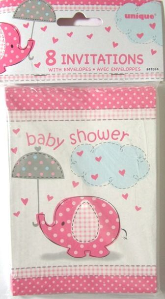 Pink Baby Shower Umbrellaphants Elephant Party Invitations - 8 Pack