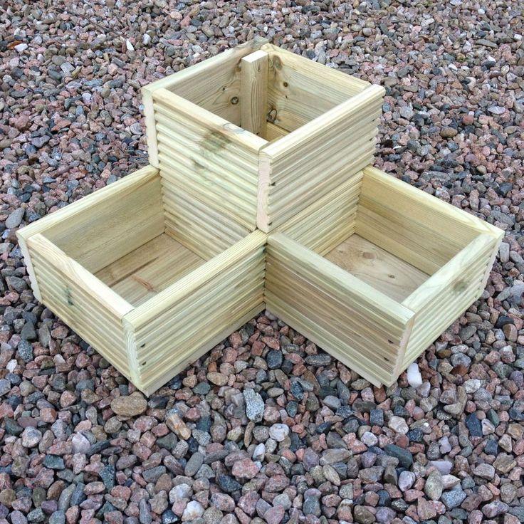 Large Corner L shaped WOODEN GARDEN PLANTER BOX Trough Herb Planters in Decking | eBay