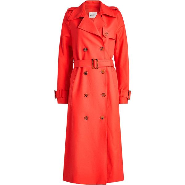 Khaite Cornelia Cotton Trench Coat found on Polyvore featuring outerwear, coats, red, cotton trench coat, red shrug, red trenchcoat, cardigan shrug and red shrug cardigan