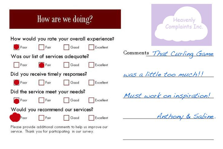 restaurant comment card questions work pinterest