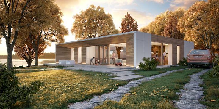 Nowoczesny dom pasywny w bieli i drewnie - Architektura, wnętrza, technologia, design - HomeSquare