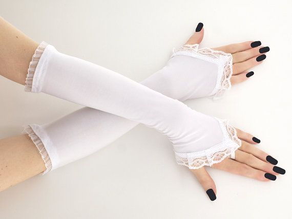 long whites fingerless gloves elegant arm by FashionForWomen