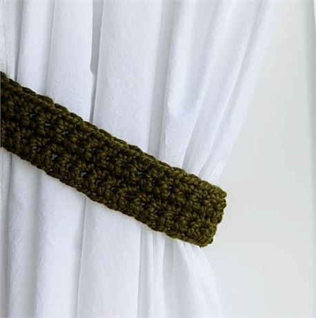 Dark Olive Green CURTAIN TIEBACKS - One Pair, 22 long x 2.5 wide x 1/2 thick   One Pair of Hand-Crocheted Curtain Tiebacks for use with any kind of curtains or drapes, including shower curtains. I used a very thick wool and acrylic blend yarn called Wool-Ease Thick N Quick.   The color in the photos is called Cilantro, a solid dark olive green. This yarn is matte (no sheen).   Different monitors/screens can display colors differently, so If an exact match is needed, I can send swatc...