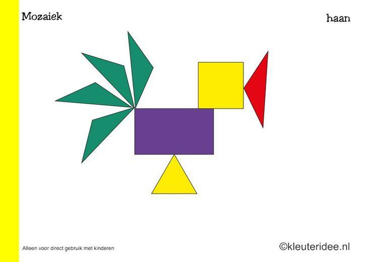 Tien Mozaiek voorbeeldkaarten voor kleuters, haan, kleuteridee.nl , Preschool mosaic patterns, free printable.