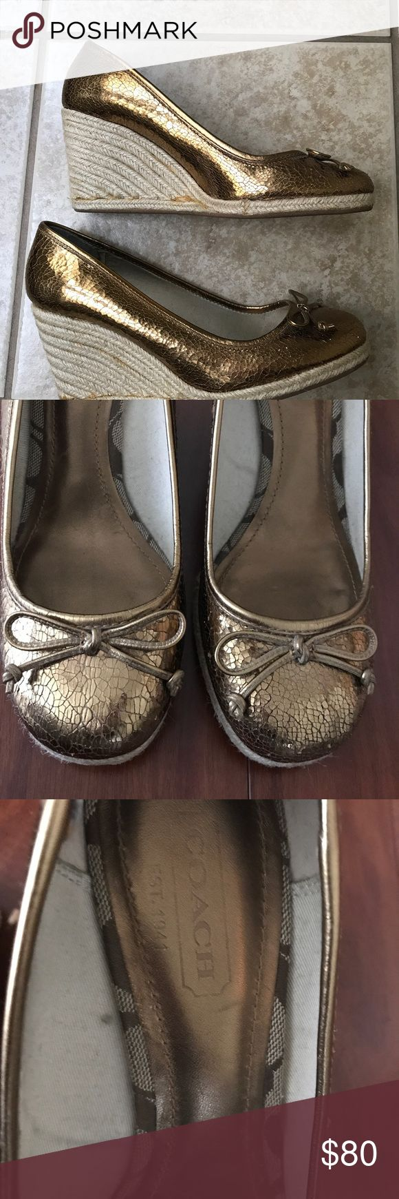Coach Gold Metallic Espadrille Wedge Sz 9.5 Beautiful Coach Espadrille with bows in the front. Very comfortable. I put an anti slip in the back of the shoes to keep from slipping off. You can peel them off if you do not need them. Coach Shoes Espadrilles