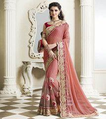 Pink Color Half Net & Half Georgette Festival & Party Sarees : Pariyani Collection YF-30727