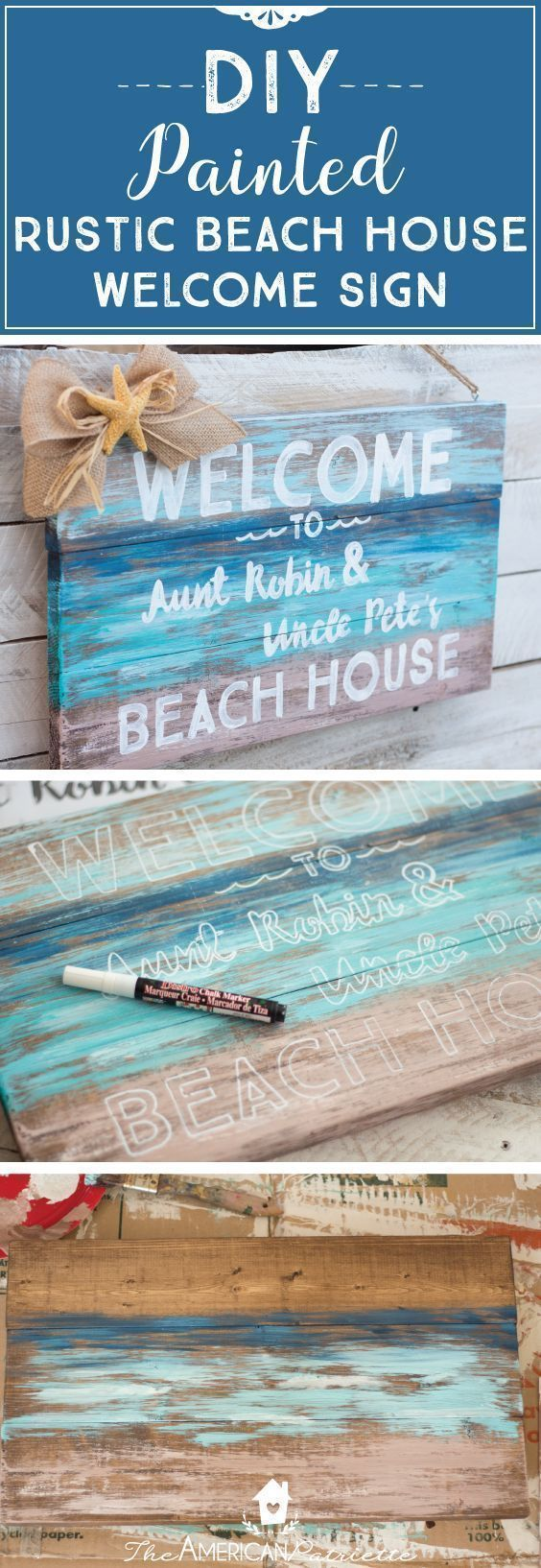 DIY Painted Rustic Beach House Welcome Sign; DIY Welcome Sign; DIY Beach Sign; Beach Sign for Shower; Beach-Themed Shower Decor; Beach-Themed Home Decor #diyhomedecorrustic #beachhousedecorrustic #beachhousedecordiy