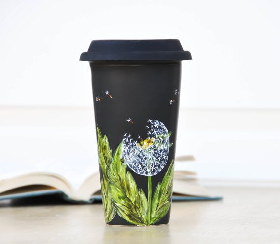 Chalkboard Ceramic Travel Mug - Made to Order - Porcelain Eco Cup - Black Silicon Lid - White, Black, Green, Yellow