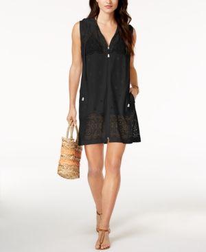 Dotti Free Spirit Crochet Zip Hoodie Cover-Up - Black XL