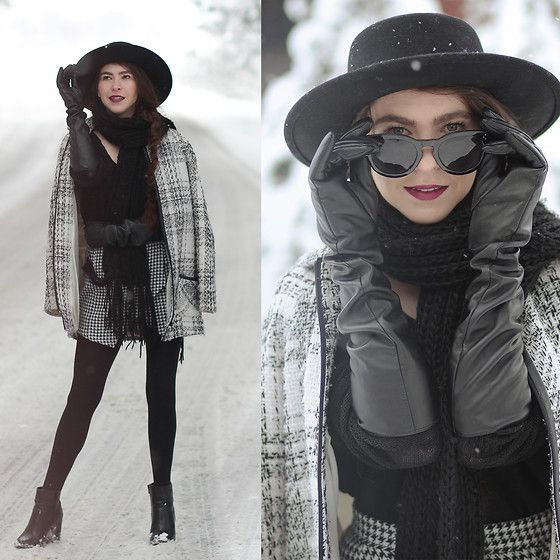 Get this look: http://lb.nu/look/8567369  More looks by Barbara Budzisz: http://lb.nu/wearowska  Items in this look:  Tkmaxx Hat, Primark Coat   #chic #elegant #vintage #hat #black #checked #coat #outwear #winter
