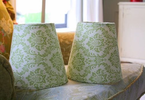 how to cover lamp shades with cute fabric