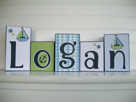 Baby Name Blocks .Zachary Nautical. Sail Boat . by RessieLillian.Etsy.com