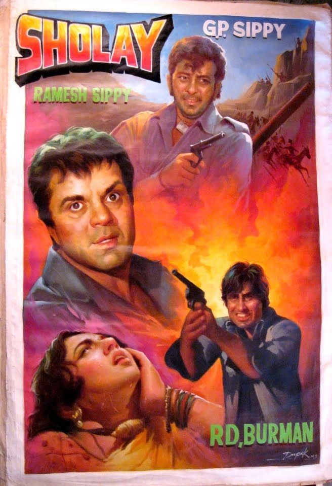 Sholay (1975)  Amitabh Bachchan, Dharmendra, Classic, Indian, Hand Painted, Bollywood, Hindi, Movies, Posters