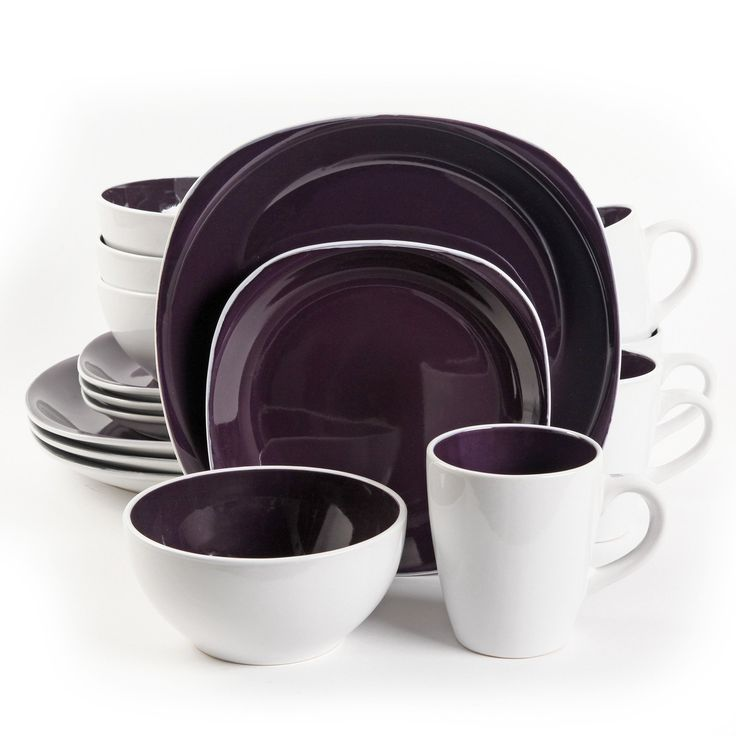 """Gibson Home Chicstone 16pc Dinnerware Set in Purple and White. Chicstone is a beautiful, elegant and sophisticated set that is perfect for any occasion. This set is Dishwasher, microwave and oven sage. Set Includes:* 4 11.5"""""""" Dinner Plates* 4 6"""""""" Bowls* 4 8.5"""""""" Dessert Plates* 4 14.5 oz Mugs"""