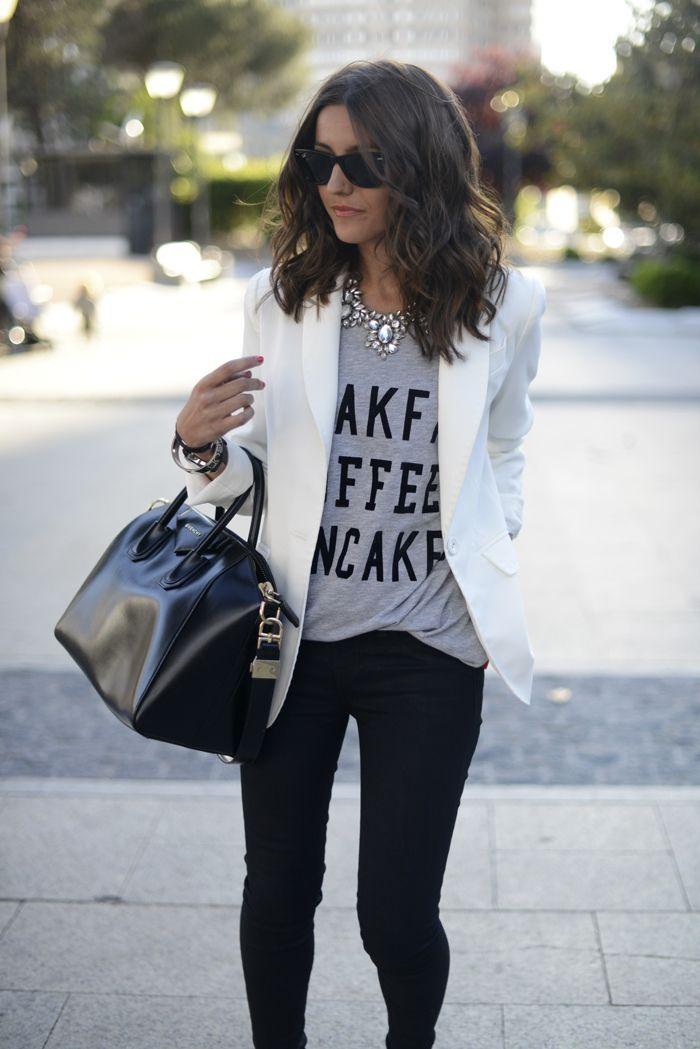 White blazer, grey graphic T shirt, black pants & sparkly statement necklace